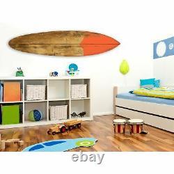 18 x 1 x 76 Wood, Brown, Surf On Surfboard Wall Art