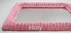 1960s Large Shabby Chic Girlie Pink Princess Woven Wicker 28 X 19 Wall Mirror