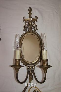2 VTG VICTORIAN SHABBY CHIC BRASS MIRROR SCONCES CHANDELIER WALL FIXTURE 1960's