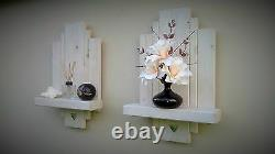 2 White Floating Shelf Shelves Wall Sconce Storage Shabby Chic Mirror Hearts