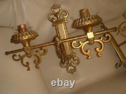 2 x vintage antique style double wall lights shabby chic ornate pair