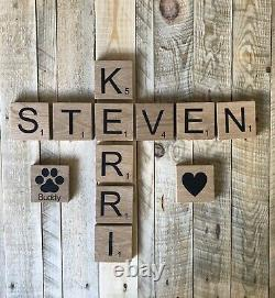 22 Oversized Solid Chunky Oak Rustic Giant Large Big Scrabble Wall Tiles Letters