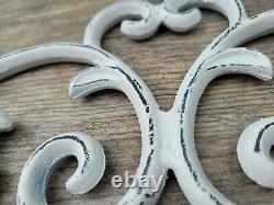 24 inches Iron Fleur de Lis Topper Metal Wall Decor Pediment, Shabby Chic