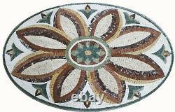38x25 Shabby Chic Oval Floor Wall Mini Rug Marble Mosaic GEO2255