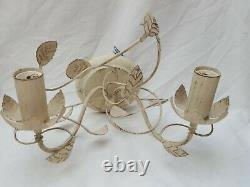 4x Cream Shabby Chic Oak Leaf Wall Lights (Poole Lighting)