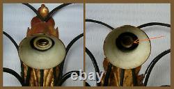 ANTIQUE 40's ITALIAN GILT TOLE PAIR WALL SCONCES 7 LIGHTS SHABBY CHIC LAMP