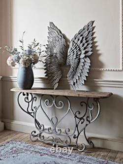 Angel Wings Wall Art Feather Effect Gilt Metal distressed finish grey and gold