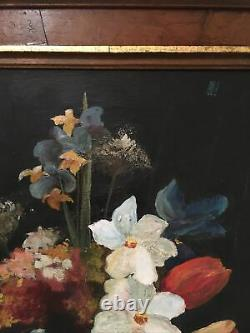 Antique Floral Still Life Oil Painting On Canvas Gallery Wall Shabby Chic