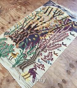 Antique Old Handmade Used Wall Rug Egypt Kilim, Shabby Chic, Size6.6 By 3.11 ft
