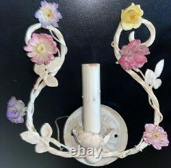 Antique Ornate Pair Flower Design Electric Candle Wall Sconce Light Fixtures