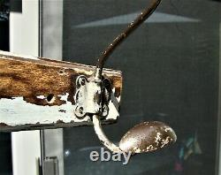 Antique Shabby Chic French Bistro Coat Hat Rack 3 Iron Ball & Hook Wall Mount