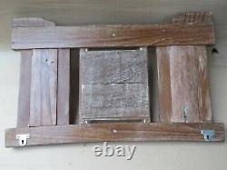 Antique wood frame Carved panel Brass hook Wall fixing shabby chic art utility-#