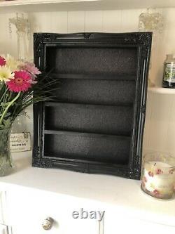 Bespoke Wall Mounted Nail Polish Display Unit Plain Black Shabby Chic Shelving
