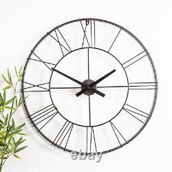 Black Round Skeleton Clock Wall Metal Roman Numerals Hallway Kitchen Chic Home