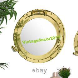 Brass Metal Nourishing Marine Wall Mirrors SHABBY VINTAGE CHIC BATHROOM HOME Dec