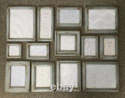Collection Grey Aged Photo Picture Frames Gallery Wall Vintage Style Shabby Chic