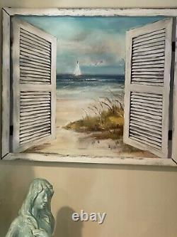 Cracker Barrel Coastal Seascape Nautical Decor Distressed Wood Frame Wall Art