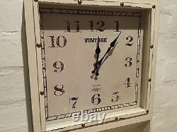 Cream Vintage Chic Loft Retro Wall Clock Hook Letter Rack Shabby Kitchen Country