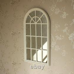 Cream arched window style wall mirror shabby vintage chic living room hallway