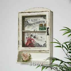 Cream vintage style bathroom wall mounted cabinet glass door shabby French chic