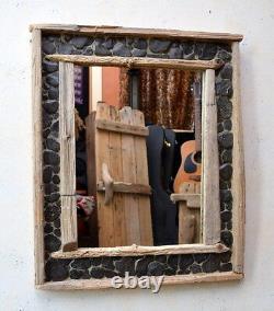 Dorset Driftwood & Polished Grey Slate Mirror 52 x 62cm Hand Made Shabby Chic