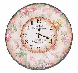 Extra Large 58cm Wooden Floral Border Wall Clock Home Decor Bedroom Shabby Chic