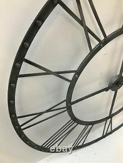 Extra Large Wall Clock 115cm French Metal Silver Antiqued Vintage Shabby Chic