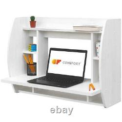 Floating Wall Mounted Computer Desk With Storage Shelves In White Shabby Chic