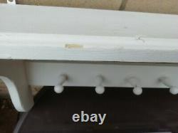 French style Shabby Chic Wall mounted Shelf & Wooden pegs white painted