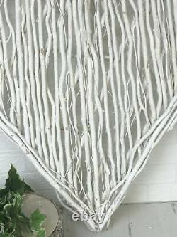 Giant White Willow Heart Wall Hanging Shabby Chic Twig Hearts Home Decor