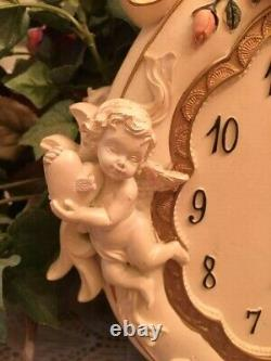 Gorgeous Victorian Style Shabby Chic Wall Clock Cherubs Pink Roses