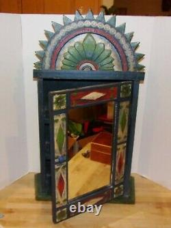 Hand-Carved/Hand-Painted'Shabby-Chic' Wall Mounted Cabinet withMirrored Door