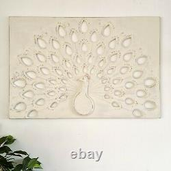 Hand Carved Wooden Decorative Wall Art Peacock Headboard White Shabby Chic