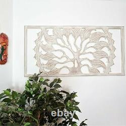 Hand Carved Wooden Tree of Destiny Wall Art Panel Headboard Distressed White
