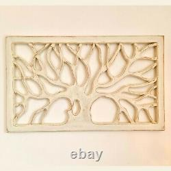 Hand Carved Wooden Tree of Life Wall Art Panel Shabby Chic Distressed White