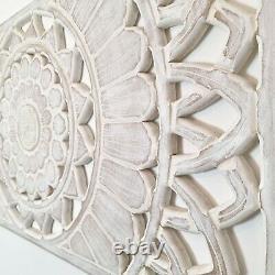 Hand Carved Wooden Wall Art Mandala Headboard Decorative Panel Distressed