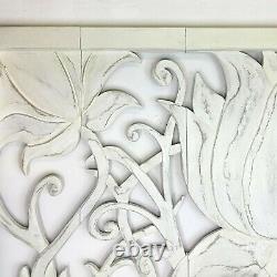 Headboard Wooden Wall Art Shabby Chic Decorative Lotus Panel
