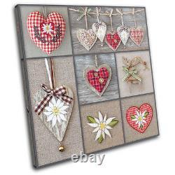 Hearts shabby chic Love SINGLE CANVAS WALL ART Picture Print VA