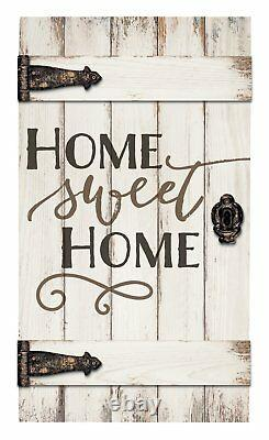 Home Sweet Home White Distressed Solid Pine Wood Barn Door Wall Plaque Sign