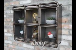 Industrial Metal Wall Unit Mesh Storage Cabinet Pipe Style Cabinet 6751