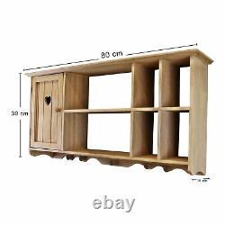 Kitchen Wooden Wall Cupboard Shelves and Hooks Rustic Hallway Storage Organiser