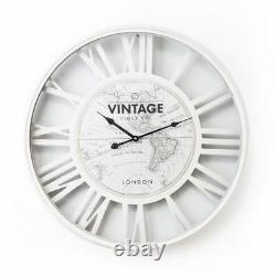 Large 60cm White Vintage World Map Wall Clock Shabby Chic Home Decor Gift Lounge