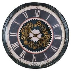 Large 75cm Decorative Round Industrial Style Black Skelton Cog Giant Wall Clock