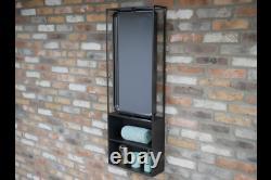 Large Black Wall Unit Mirror Storage Shelving Metal Glass Rustic Retro Home Chic