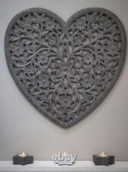 Large Hand Carved Distressed Grey Mango Wood Art Heart Wall Panel Decoration