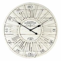 Large Round Cut Out Effect Whitewash Wall Clock 70cm