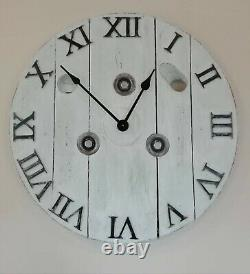 Large Rustic Wooden Wall Clock Industrial Cable Reel farmhouse shabby chic