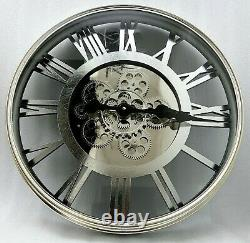 Large Skeleton Wall Clock fauxAntique Shabby Chic Round Light Gold Silver Mirror