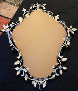 Large Vintage Italian Tole Ware Wall Mirror 23 X 19 Doors EXC COND Shabby Chic