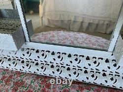 Large Vintage Tin Wall curio/shelf with mirrors, Shabby Chic /Mid Century/